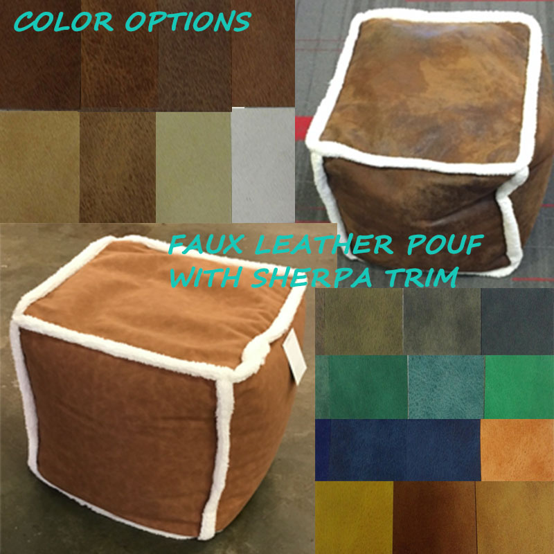 Faux Leather Outdoor Pouf Ottoman Brown Multi Color With